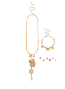 Long Charm Necklace with Bracelet and Earrings Set - 1138062925084