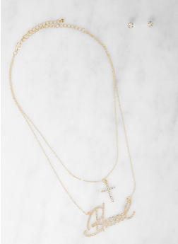 Blessed Layered Necklace with Stud Earrings - 1138062925226