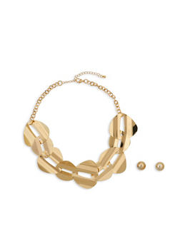Interlocking Metallic Necklace with Stud Earrings Set - 1138062925694