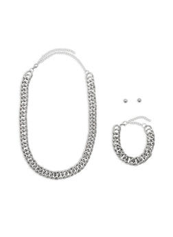 Large Chain Necklace with Bracelet and Stud Earrings - 1138062925766