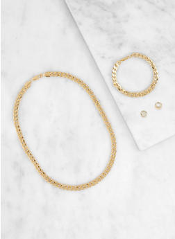 Curb Chain Necklace with Bracelet and Stud Earrings - 1138062925790