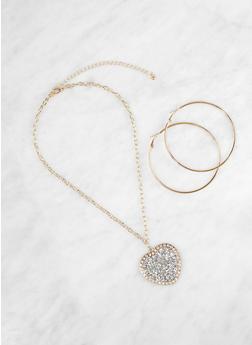 Rhinestone Heart Necklace and Hoop Earrings - 1138062925978