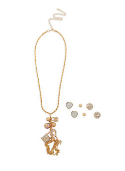 Long Charm Necklace with Set of 3 Stud Earrings - 1138062926084