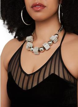 Large Beaded Necklace with Rhinestone Hoop Earrings - 1138062926114