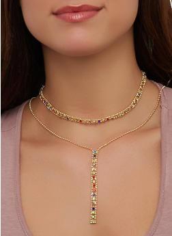 Rhinestone Choker Drop Chain Necklace with Earrings - 1138062926143