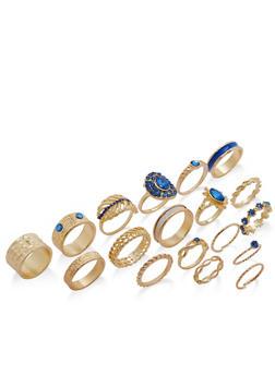 Assorted Glitter Rhinestone Ring Set - 1138062926230