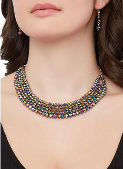 Beaded Necklace and Drop Earrings - 1138062926418