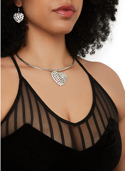 Rhinestone Heart Collar Necklace and Drop Earrings - 1138062926422
