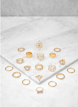 Set of Assorted Metallic Rings - 1138062926514