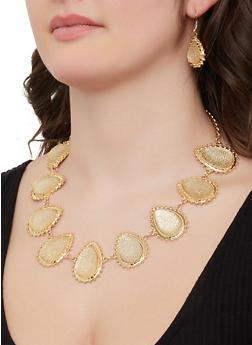 Teardrop Necklace and Drop Earrings - 1138062926530