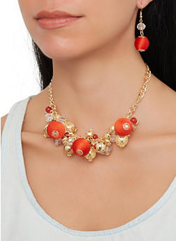 Beaded Necklace and Drop Earrings - 1138062926538