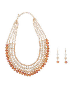Beaded Collar Necklace with Earrings - 1138062926880