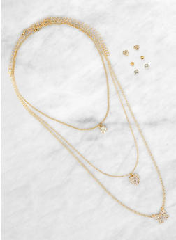 Rhinestone Bow Charm Necklaces with Stud Earring Trio - 1138062926951