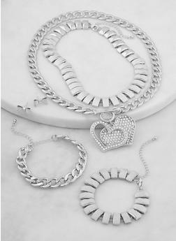 Glitter and Curb Chain Necklaces and Bracelets with Stud Earrings - 1138062927162
