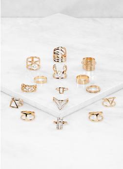 Set of 15 Assorted Metallic Rhinestone Rings - 1138062927408