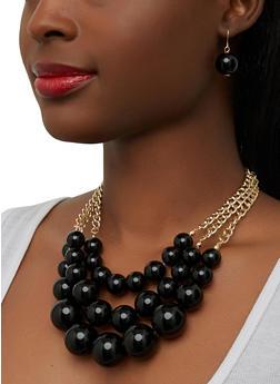 Jumbo Beaded Layered Necklace and Earrings - 1138062927562
