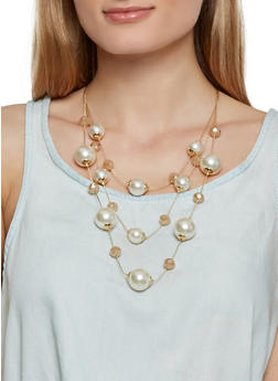 Layered Faux Pearl Necklace with Earrings - 1138062927578