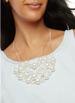 Faux Pearl Beaded Necklace with Drop Earrings - 1138062927581