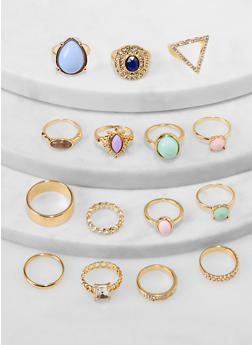 Set of 15 Assorted Metallic Rings - 1138062927584