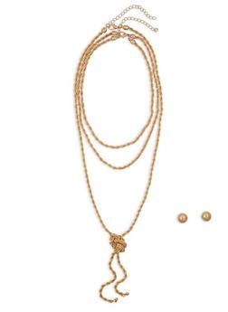 Metallic Twist Necklaces with Stud Earrings - 1138062927587