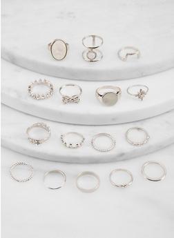 Set of 16 Assorted Crown Metallic Rings - 1138062927588