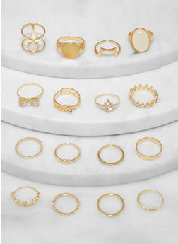 Set of 16 Assorted Crown Metallic Rings - 1138062927588
