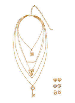 Layered Rhinestone Charm Necklace with Stud Earrings - 1138062927664
