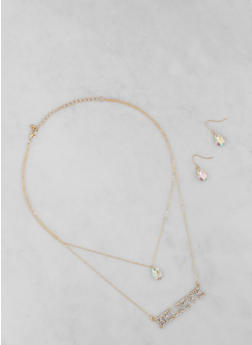 Believe Layered Necklace with Earrings - 1138062927732