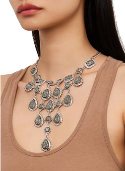 Metallic Stone Bib Necklace and Earrings Set - 1138062928131