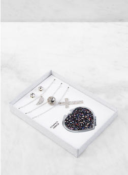 Cross Charm Necklace Trio with Stud Earrings and Compact Mirror - 1138062928223