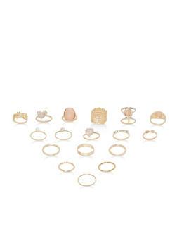 Assorted Rhinestone Rings Set - 1138062928405
