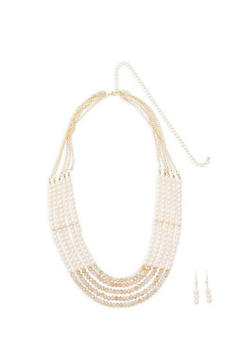 Multi Layer Beaded Necklace with Matching Earrings - 1138062928730