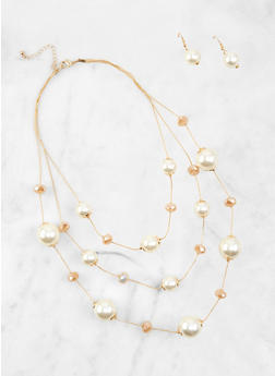 Faux Pearl Beaded Layered Necklace and Earrings - 1138062928757
