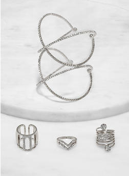 Rhinestone Criss Cross Cuff Bracelet and Ring Trio - 1138062928813