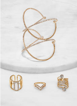 Rhinestone Criss Cross Cuff Bracelet and Ring Trio - 1138062928813