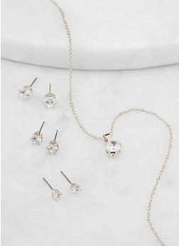 Cubic Zirconia Necklace with Stud Earring Trio - 1138062929145