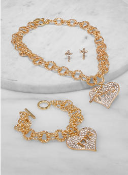 Love Chain Necklace and Bracelet with Stud Earrings - 1138062929190