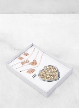 Glitter Compact Mirror with Charm Necklaces and Earrings - 1138062929223