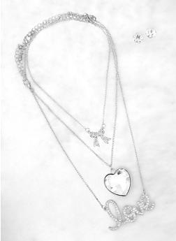 Oversized Heart Pendant Trio with Stud Earrings - 1138062929851