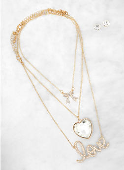 Oversized Heart Pendant Trio with Stud Earrings - 1138062929851