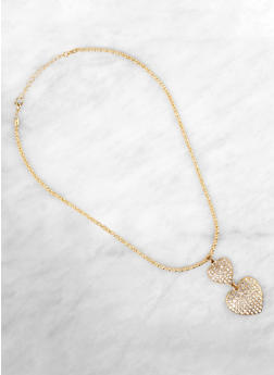 Rhinestone Double Heart Charm Necklace with Stud Earrings - 1138063092364