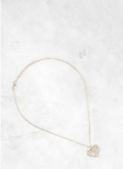 Rhinestone Heart Pendant Necklace and Stud Earrings - 1138063092466