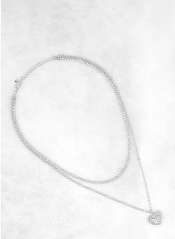 Rhinestone Chain Charm Necklace - 1138063093425