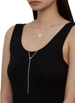 Rhinestone Heart Layered Necklace - 1138063093437