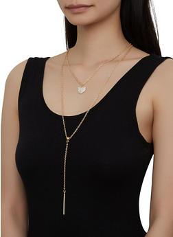 Rhinestone Heart Layered Necklace - 1138063093437