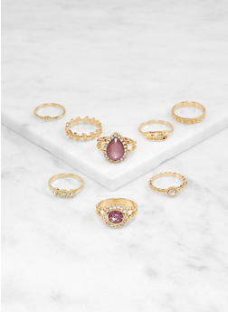 Set of 8 Amethyst and Rhinestone Rings - 1138064224316