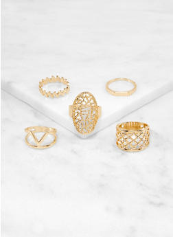 Set of 8 Rhinestone Cut Out Rings - 1138064224323