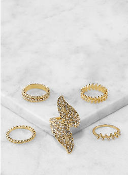 Set of 5 Assorted Metallic Rings - 1138067250054
