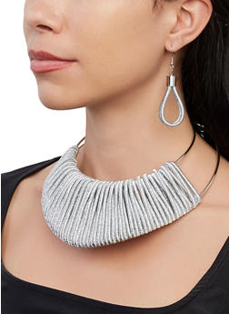 Cord Wrapped Collar Necklace and Earrings - 1138067252161