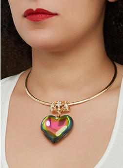 Large Heart Pendant Collar Necklace with Stud Earrings - 1138067252305